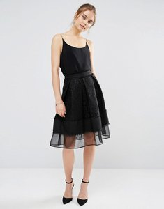 Read more about Endless rose lace mesh panel midi skirt - black