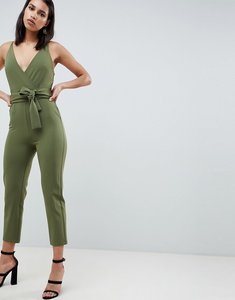 Read more about Asos design wrap front jumpsuit with peg leg and self belt - khaki