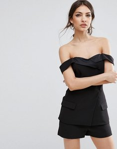 Read more about Lavish alice tailored playsuit with satin lapel - black
