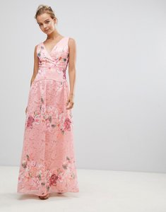 Read more about Little mistress embroidered lace maxi dress - pink