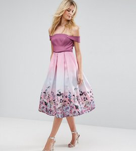 Read more about Asos tall salon floral ombre midi prom dress - pink