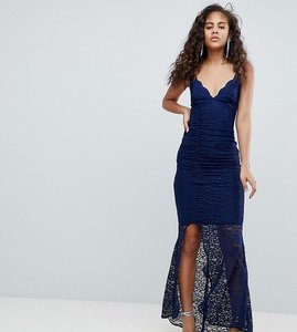 Read more about Asos design tall deep plunge lace bodycon maxi dress with fishtail - navy