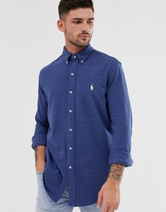 Read more about Polo ralph lauren pique shirt slim fit button down player logo in blue marl