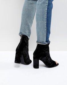 Read more about New look velvet peep toe block heel shoe boot - black