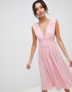 Read more about Asos design premium lace insert pleated midi dress - blush