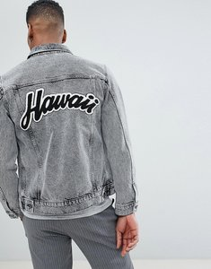 Read more about Selected homme denim jacket with back hawaii flocking - black