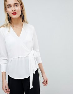 Read more about Warehouse wrap front blouse - ivory