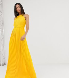 Read more about Tfnc tall high neck pleated maxi dress in yellow