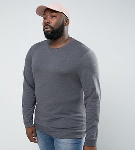 Read more about Asos plus lightweight muscle sweatshirt in charcoal marl - charcoal marl