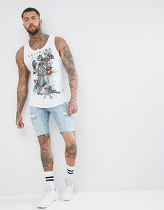 Read more about Religion longline vest in white with curved hem and praying skeleton print - white