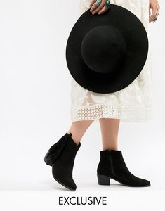 Read more about Miss selfridge heeled ankle boot with side fringe detail - black