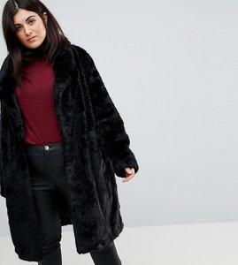 Read more about Urbancode plus longline coat in faux fur - black