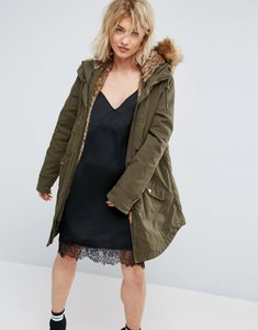 Read more about Parka london lara detachable fluffy lining parka - khaki