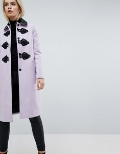Read more about Asos slim coat with contrast frogging - pink