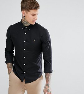 Read more about Farah skinny fit button down oxford shirt in black - black 001