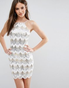 Read more about Rare london scallop sequin bodycon dress - white gold