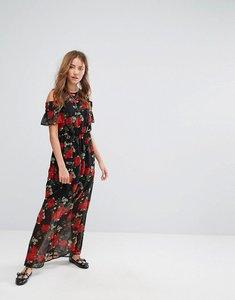 Read more about Pimkie floral print open shoulder maxi dress - black pattern