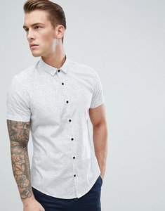 Read more about Moss london extra slim shirt in white with confetti print - white