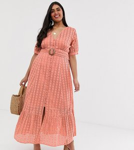 Read more about Asos design curve broderie pephem maxi dress with wooden belt