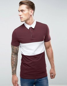 Read more about Asos longline muscle rugby polo shirt in oxblood with contrast panel - oxblood white