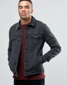 Read more about Asos skinny fit denim jacket with cord collar in black - black