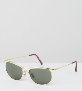 Read more about Reclaimed vintage inspired square sunglasses in gold exclusive to asos - gold