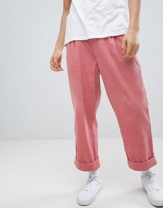 Read more about Asos design wide balloon trousers in pink cord with pleats - pink