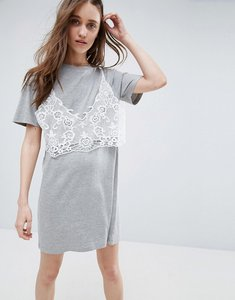 Read more about Asos t-shirt dress with lace bralet - grey marl