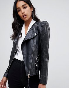 Read more about Asos leather biker jacket with shoulder pads - black
