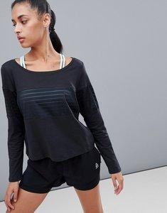 Read more about Reebok training mesh panel crop long sleeve top in black - black