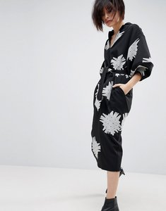 Read more about Asos white mono floral bell sleeve midi dress - black white