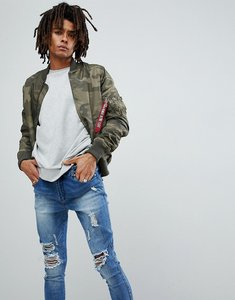 Read more about Alpha industries ma1-tt camo print bomber jacket slim fit in dark green - olive camo