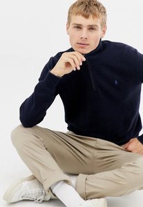 Read more about Polo ralph lauren texture pima cotton jumper with half zip in navy marl
