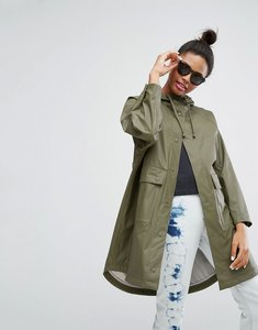Read more about Monki utility rain coat - green
