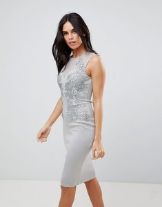 Read more about Ax paris applique detial scuba bodycon dress - grey