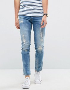 Read more about Only sons jeans in slim fit with heavy repair detail - light blue