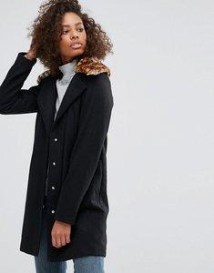 Read more about Brave soul pea coat with faux leopard collar - black w leopard