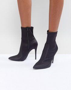 Read more about Miss selfridge pointed toe ankle sock boots - black
