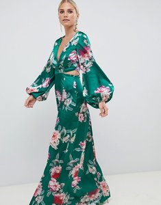 Read more about Asos design long sleeve floral print cut out wrap maxi dress - green floral print