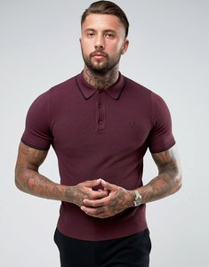 Read more about Fred perry knitted polo shirt in burgundy - mahogany