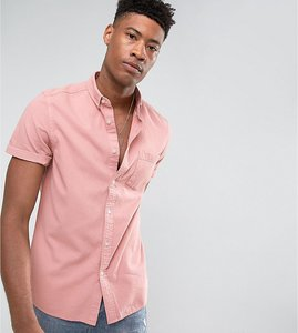 Read more about Asos tall regular fit denim shirt in pink - pink