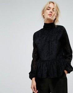 Read more about Gestuz velvet printed peplum blouse - black