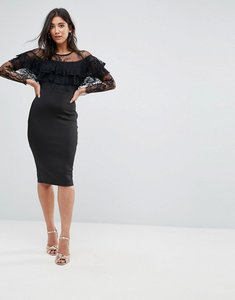 Read more about Ax paris long sleeve overlay midi dress with lace detail - black