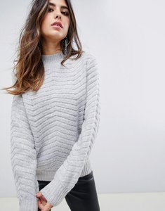 Read more about Y a s textured knitted high neck jumper - grey