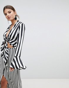 Read more about Missguided tie front striped top - black