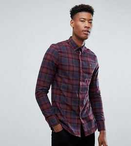 Read more about Farah tall waithe slim fit check shirt in red - red