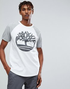 Read more about Timberland oversized raglan t-shirt reflective tree logo print in white grey - white grey marl