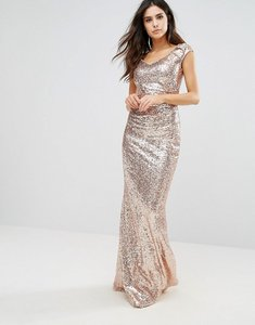 Read more about City goddess sequin fishtail maxi dress - gold