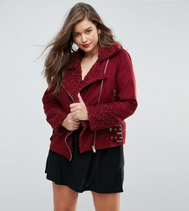 Read more about Missguided plus shearling borg aviator jacket - burgundy