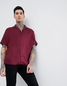 Read more about Asos design oversized viscose batwing sleeve shirt in burgundy - burgundy